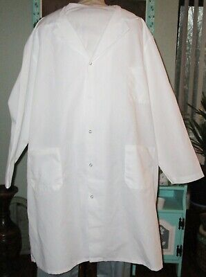 "Best Medical Unisex L/S Lab Coat Snaps 3 Pockets 42"" Length White Size 2X"