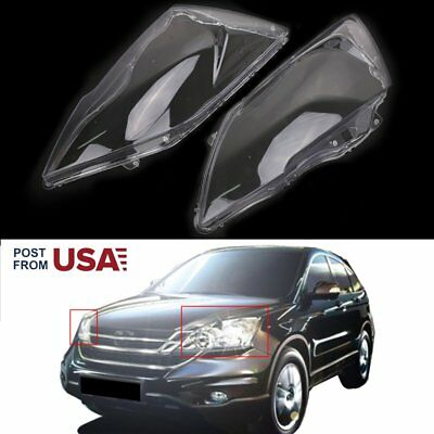 Pair Lucency PC Headlight Lens Replacement Cover For Honda CR-V 2007-2011