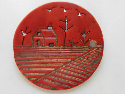 Extra Large Red Celluloid Antique Button Open work Carved Scene Home Sweet Home