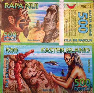 Easter Island 500 Rongo 2012 Commemorative Uncirculated Note Beautiful Colors !!