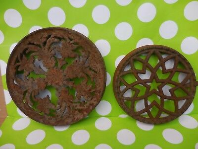 Vintage ** CAST IRON STOVE Well Burner EYE PLATES Trivet  ORNATE 1800's