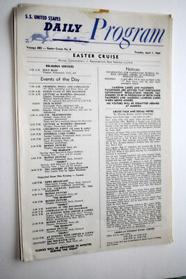 """Ss United States, Easter Cruise Daily Program, April 1, 1969, 8 1/2"""" X 13"""""""