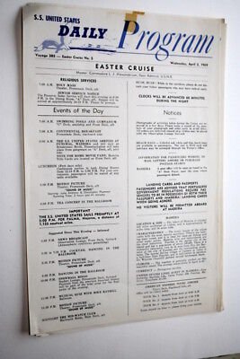 """Ss United States, Easter Cruise Daily Program, April 2, 1969, 8 1/2"""" X 13"""""""
