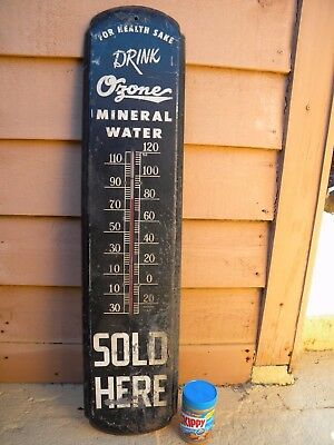 X RARE NEW ORLEANS LA. - OZONE MINERAL WATER Vintage LARGE TIN THERMOMETER