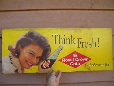 X Vintage RARE Royal Crown Cola CARDBOARD SIGN - THINK FRESH - Old RC SODA Sign