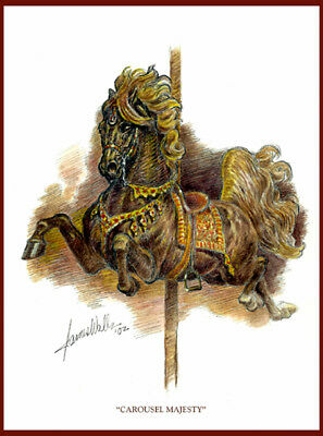 """CAROUSEL HORSE NOTE CARDS """"CAROUSEL MAJESTY"""" by JAMES WALLS"""