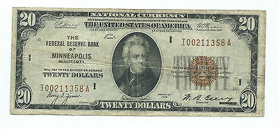 1929 $20.00 National Banknote -- The Federal Reserve Bank Of Minneapolis, Minn.