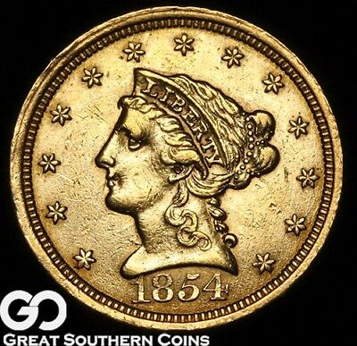 1854 Quarter Eagle, $2.5 Gold Liberty, Collector Type ** Free Shipping!