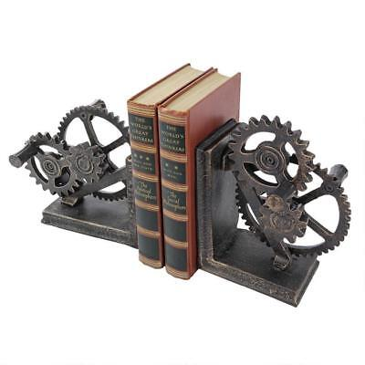 Set of 2: Industrial Age Mechanically Inclined Iron Gear Sculptural Book End