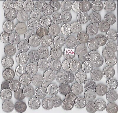100 Mercury Dimes - $10.00 Face Value 90% silver from the 40's