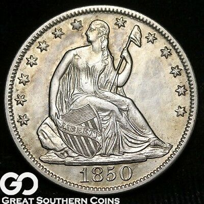 1850-O Seated Liberty Half Dollar, Very Scarce Uncirculated Key Date New Orleans