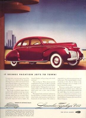 It brings vacation joys to town: Lincoln Zephyr ad 1939