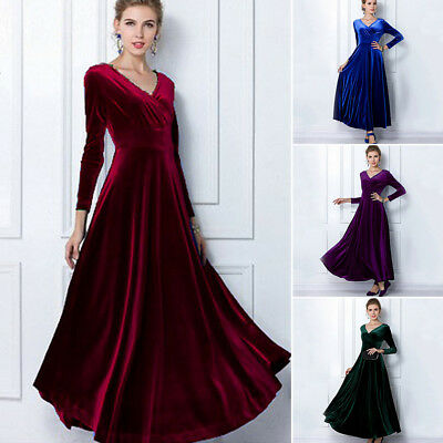 Women Lady Velvet V Neck Formal Cocktail Party Evening Long Maxi Dress Prom Gown