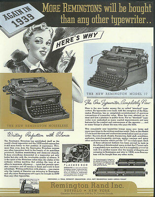 Again in 1939 More Remington Typewriters will be bought than any other ad