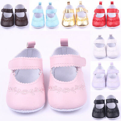 Soft Sole PU Leather Cute Girls Sneaker Shoes Crib Newborn Princess Baby Flower