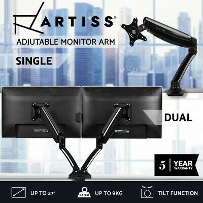 Artiss Single Dual Monitor Arm Stand Gas Desk Mount HD LCD TV Screen USB Audio