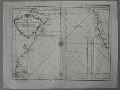 South America Atlantic Amerika - Kupferstich Karte engraving map Bellin 1749