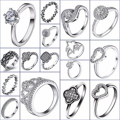 Luxury Crystals Cubic Zircon Wedding Engagement Rings 925 Silver Brand Jewelry