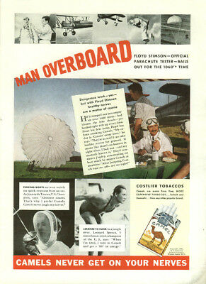 Man Overboard Floyd Stimson Parachute Tester Camel Cigarettes ad 1937 Time