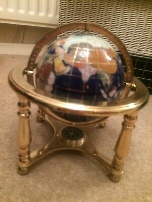World globe semi precious gemstone with compass and brass stand large.