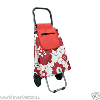 Convenient Red Flower Pattern Two Wheels Collapsible Shopping Luggage Trolleys