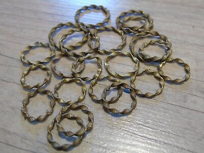 French Vintage Antique Cafe Curtain Rings Rare Bronze Gilt Twist X 22 Ass Sizes