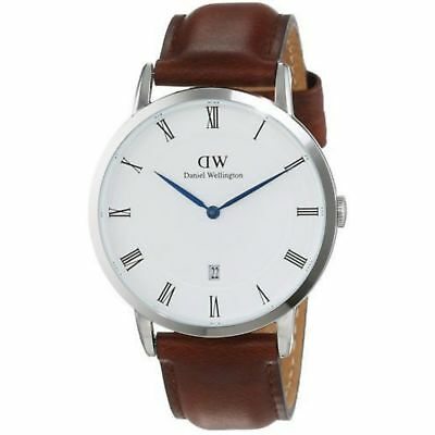 NEW Daniel Wellington Men's Dapper 38mm St Mawes White Dial Leather Strap Watch