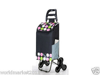 New Convenient Pink Dot Pattern Six-Tire Collapsible Shopping Luggage Trolleys