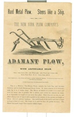 1876 New York Plow Company Adamant Plow