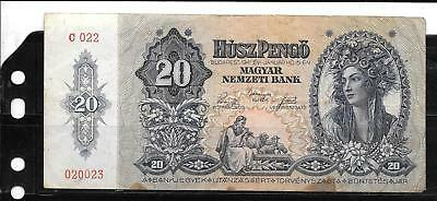 Hungary #109 1941 Good Circ 20 Pengo Old Banknote Paper Money Currency Note