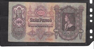 HUNGARY #98 1930 VERY GOOD circ VINTAGE 100 PENGO OLD BANKNOTE NOTE PAPER MONEY