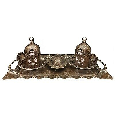 Ottoman Turkish Greek Arabic Coffee Espresso Serving Set - Quality Bronze Brass