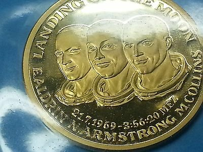 Gold Medaille Landing on the Moon Aldrin Armstrong Collins 1969 Münze