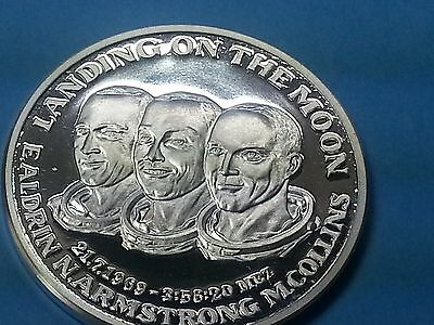 Silber Medaille Landing on the Moon  Aldrin  Armstrong  Collins 1969 Münze