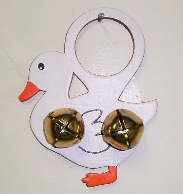 LEATHER DUCK BRASS SLEIGH BELLS Child's Room House Decor Hang on Door Knob Chime