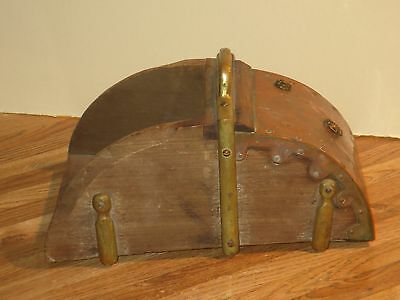 Rare Antique Wooden Saddle Stirrup With Copper And Brass Braces