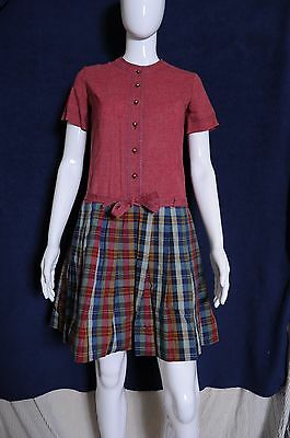 VTG '50s Westway Miss Junior flair skirt mini dress with brass button front 8