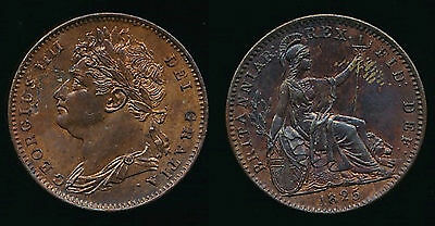 1825 George IV FARTHING - Obverse 1...5 over High 5 in Date...RARE...Fast Post