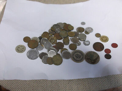Large Lot of 76 Assorted Tokens, Old and New, Brass, Copper, Aluminum, Wood, Etc