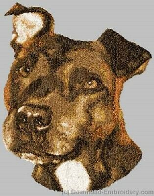 Large Embroidered Zippered Tote - Staffordshire Bull Terrier DLE3720