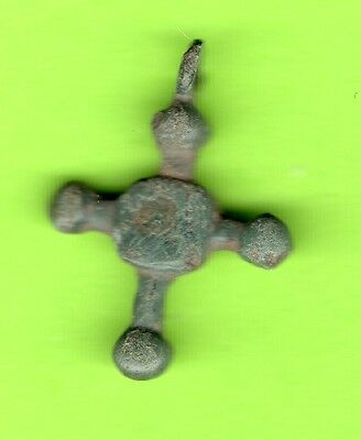 Russia Kiev type Bronze Cross Pendant Viking time 10-12th ca 1100 AD RARE 212