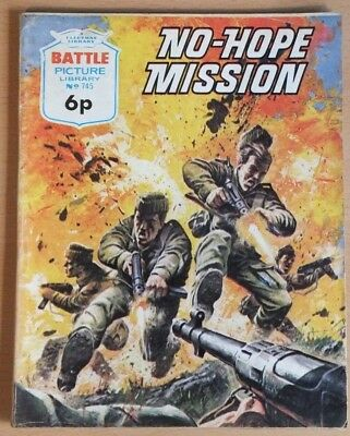 "BATTLE PICTURE LIBRARY # 745 ""No-Hope Mission"" War comic published 1973 - VG+"