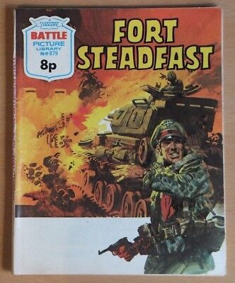 "BATTLE PICTURE LIBRARY # 879 ""Fort Steadfast"" War comic published 1974, G / VG."