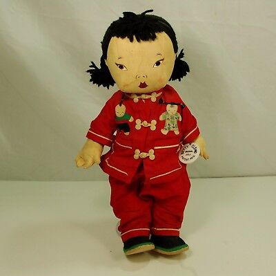 """BETTY CLEMO Chinese Embroidered Cloth Baby Doll Traditional Clothes 15"""" Rare!TAG"""
