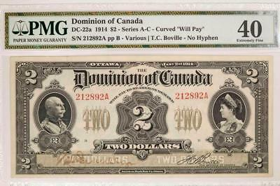1914 Dominion of Canada $2 DC22a Series A-C Curved Will Pay PMG 64EPQ Item#T7206