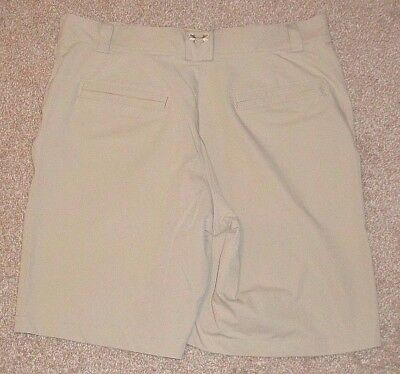 Mens Under Armour Performance Flat Front Golf Shorts Beige Size 36