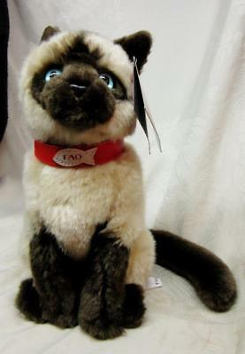 LifeLike FAO SCHWARZ SIAMESE CAT PLUSH TOY w FAO Button Original Tags  FREE SHIP