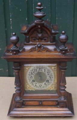 Wonderful Large Junghans Gothic Looking Wooden Mantel Clock