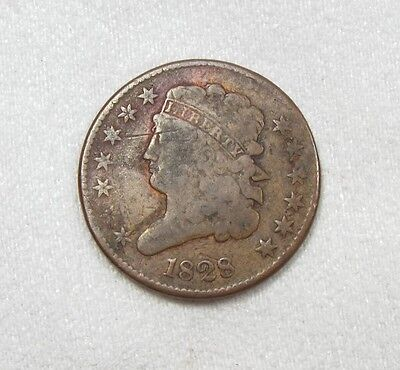 BARGAIN 1828 Classic Head Half Cent with 13 Stars VERY GOOD