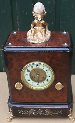 Delightful Looking Large Old Inlaid Wooden Cased Japy Freres Mantel Clock